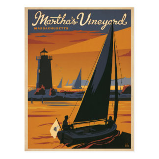 Martha's Vineyard, MA - Sailboat Postcard