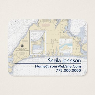 Beach Themed Martha's Vineyard Nautical Chart Clean Fresh Business Card