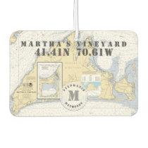 Martha's Vineyard Nautical Chart Monogram Car Air Freshener
