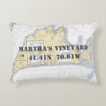 Martha's Vineyard Nautical Chart Theme Accent Pillow