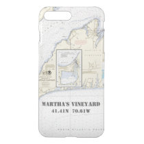 Martha's Vineyard Nautical Latitude Longitude iPhone 7 Plus Case