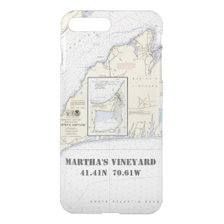Martha's Vineyard Nautical Latitude Longitude iPhone 8 Plus/7 Plus Case