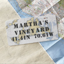 Martha's Vineyard Nautical Latitude Longitude License Plate