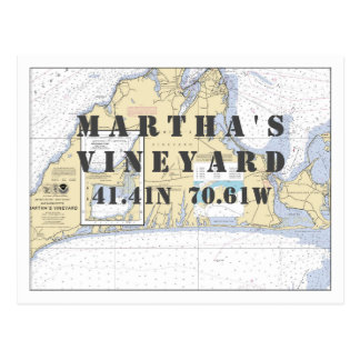 Martha's Vineyard Nautical Latitude Longitude Postcard