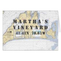 Martha's Vineyard Nautical Navigation Chart Card