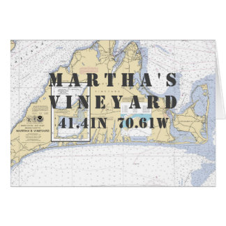 Martha's Vineyard Nautical Navigation Chart Card