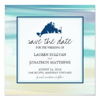 Martha's Vineyard Ocean Watercolor Save the Date Card