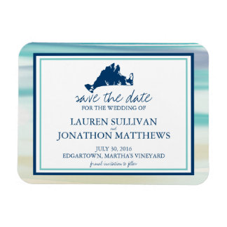 Martha's Vineyard Ocean Watercolor Save the Date Rectangular Photo Magnet