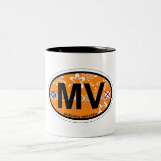Martha's Vineyard Oval Design. Two-Tone Coffee Mug