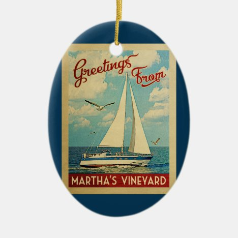Martha's Vineyard Sailboat Vintage Travel Ceramic Ornament