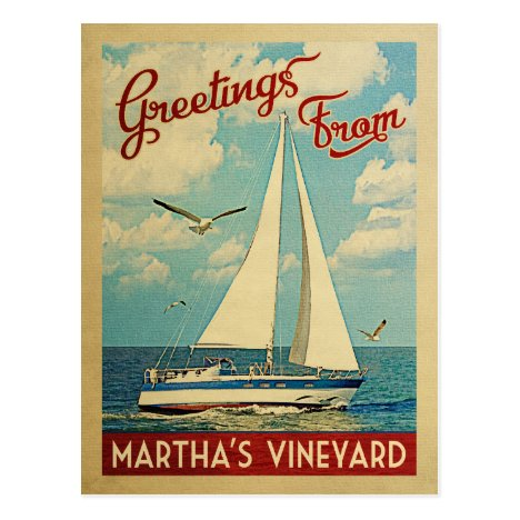 Martha's Vineyard Sailboat Vintage Travel Postcard