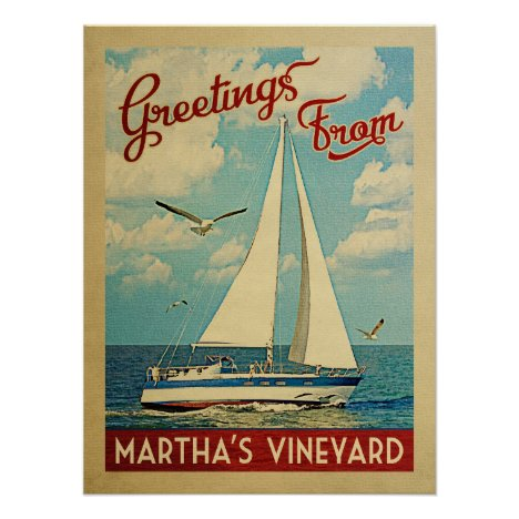 Martha's Vineyard Sailboat Vintage Travel Poster