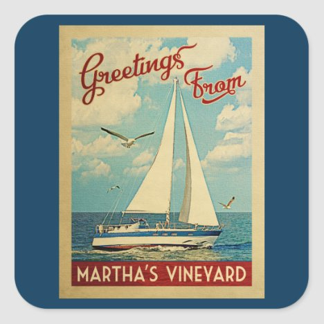 Martha's Vineyard Sailboat Vintage Travel Square Sticker