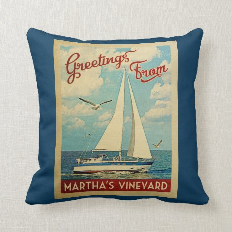 Martha's Vineyard Sailboat Vintage Travel Throw Pillow