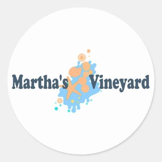 "Martha's Vineyard ""Seashells"" Design. Classic Round Sticker"