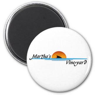 Marthas Vineyard Shark 2 Inch Round Magnet