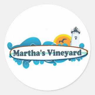 """Martha's Vineyard """"Surf"""" Design. Classic Round Sticker"""