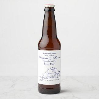 Martha's Vineyard Vintage Map #1 Navy Blue Beer Bottle Label