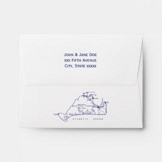 Martha's Vineyard Vintage Map #1 Navy Blue Envelope