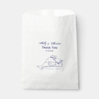 Martha's Vineyard Vintage Map #1 Navy Blue Favor Bag