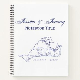 Martha's Vineyard Vintage Map #1 Navy Blue Notebook