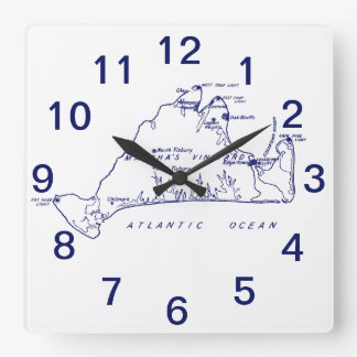 Martha's Vineyard Vintage Map #1 Navy Blue Square Wall Clock