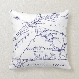 Martha's Vineyard Vintage Map #1 Navy Blue Throw Pillow