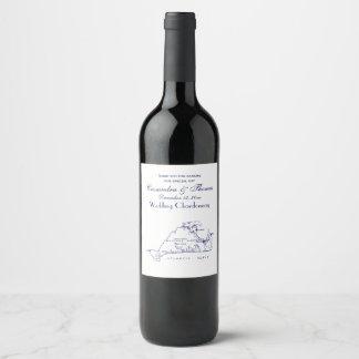 Martha's Vineyard Vintage Map #1 Navy Blue Wine Label