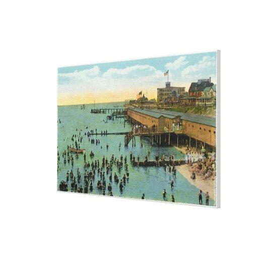 Martha's Vineyard, vista aérea de la playa Lona Envuelta Para Galerías