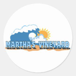 """Martha's Vineyard """"Waves"""" Design. Classic Round Sticker"""