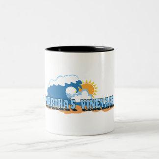 "Martha's Vineyard ""Waves"" Design. Two-Tone Coffee Mug"