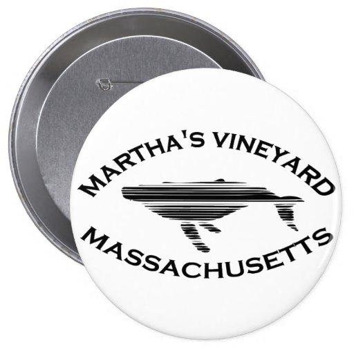 """Martha's Vineyard """"Whale"""" Design. 4 Inch Round Button"""