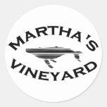 """Martha's Vineyard """"Whale"""" Design. Classic Round Sticker"""