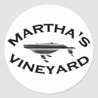 "Martha's Vineyard ""Whale"" Design. Classic Round Sticker"