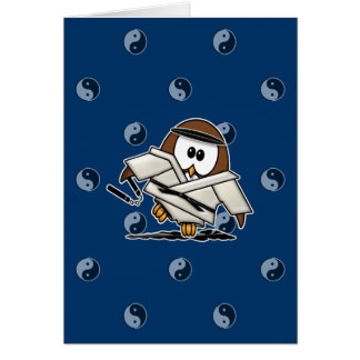 martial art owl greeting cards