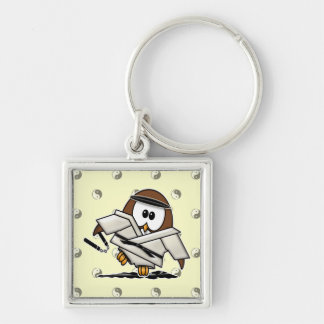 martial art owl Silver-Colored square keychain