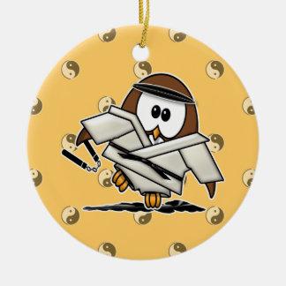 martial art owl ornament