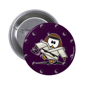martial art owl pinback button