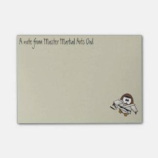 martial art owl post-it notes