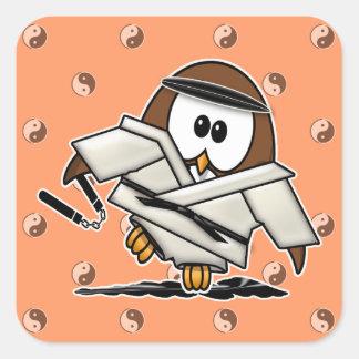 martial art owl square sticker