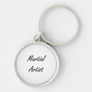 Martial Artist Artistic Job Design Silver-Colored Round Keychain