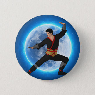 Martial Artist on the Moon Pinback Button