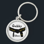 "Martial Arts 1st Degree Black Belt Keychain<br><div class=""desc"">Customize the Martial Arts 1st Degree Black Belt Keychain with the personal name of your martial artist and the earned they earned a first degree black belt. This personalized martial arts key ring features a blackbelt design with one gold bar or stripe and a white background. Suitable for all martial...</div>"
