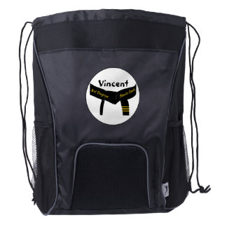 Martial Arts 3rd Degree Black Belt Drawstring Backpack