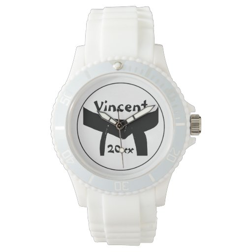 Martial arts basic black belt wrist watch zazzle for Minimal art wrist watch