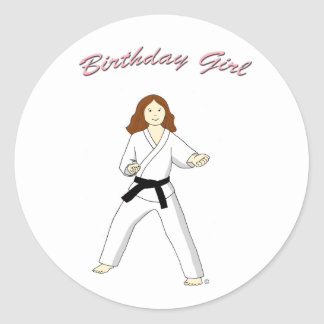 Martial Arts Birthday Girl Stickers