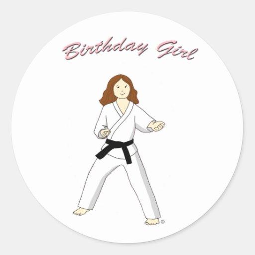 Martial Arts Birthday Girl Stickers