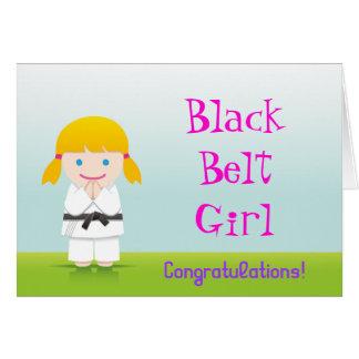 Martial Arts Black Belt Girl Congratulations Card