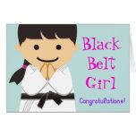 Martial Arts Black Belt Girl Smile Card グリーティングカード
