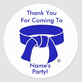 Martial Arts Blue Belt party thank you stickers
